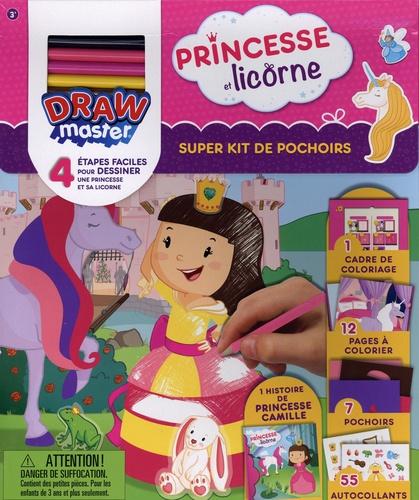 Super kit de pochoirs Princesse et licorne. Drawmaster. Avec 1 histoire de Princesse Camille, 7 pochoirs, 1 cadre de coloriage, 12 pages à colorier, 5 crayons de couleur et 55 autocollants