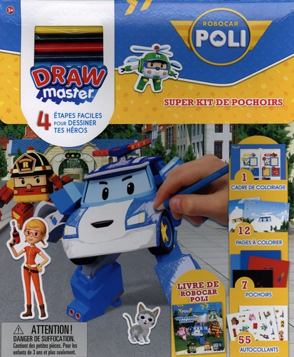 Super kit de pochoirs Robocar Poli. Drawmaster. Avec 1 livre Robocar Poli, 1 cadre de coloriage, 5 crayons de couleur, 12 pages à colorier, 7 pochoirs et 55 autocollants
