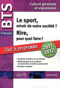 Deedr.fr BTS français, épreuve de culture générale et expression 2010-2011 - Le sport, miroir de notre société ? Rire, pour quoi faire ? Image