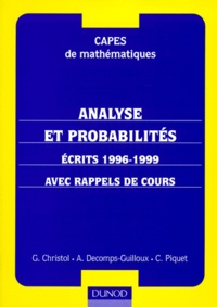 Galabria.be MATHEMATIQUES CAPES ANALYSE ET PROBABILITES. Ecrits 1996-1999, Avec rappels de cours Image