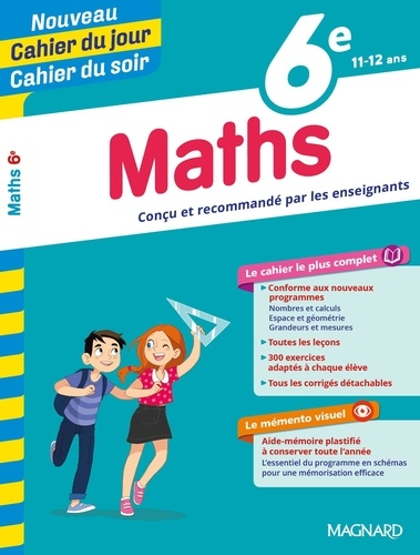 Cahier du jour/cahier du soir Maths 6e + mémento  Edition 2019