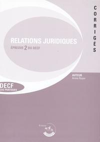 Annie Ruyer - Relations juridiques de crédit, du travail et de contentieux Epreuve 2 du DECF Cas pratiques - Corrigés, Edition 2005/2006.