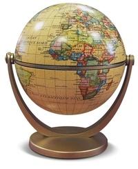 Anonyme - Globe lumineux 30 cm cartographie politique - 3 niveaux d'éclairage, base tactile, pied et méridien en laiton.