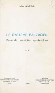 Anonyme - Le système balzacien - Essai de description synchronique.