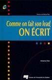 Antoine Char - Comme on fait son lead, on écrit.