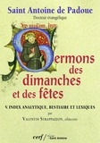 Sermons des dimanches et des fêtes T05 - Index analytique, bestiaire et lexiques.