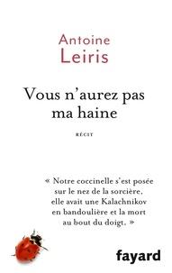 Téléchargements de livres électroniques gratuits pour téléphones Vous n'aurez pas ma haine par Antoine Leiris en francais