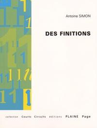 Antoine Simon - Des finitions - Défis définis définitifs.