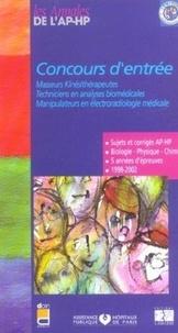 Concours d'entrée Masseurs kinésithérapeutes, Techniciens en analyses biomédicales, Manipulateurs en électroradiologie médicale- Sujets corrigés 1998-2002 -  APHP |