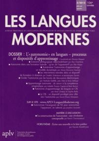 """Monica Masperi - Les Langues Modernes N° 3/2012 : L'""""autonomie"""" en langues - processus et dispositifs d'apprentissage."""