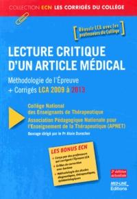 APNET et Alain Durocher - Lecture critique d'un article médical - Méthodologie de l'épreuve + corrigés LCA 2009 à 2013.