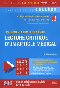 APNET - Lecture critique d'un article médical - Les annales en QRM de 2009 à 2016.