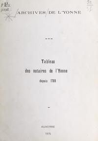Archives de l'Yonne et Max Momon - Tableau des notaires de l'Yonne depuis 1789.