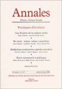 Armand Colin - Annales Histoire, sciences Sociales N° 4-5 Juillet-Octobre 2001 : Pratiques d'écriture.