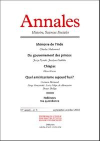 Armand Colin - Annales Histoire, Sciences Sociales N° 5 Octobre-Novembre 2002 : Mémoire de l'Inde.