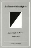 Jean Garapon et Malina Stefanovska - Littératures classiques N° 57, Hiver 2006 : Cardinal de Retz - Mémoires.