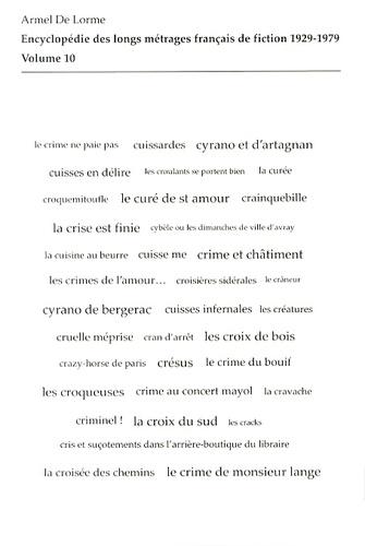 Armel de Lorme - Encyclopédie des longs métrages français de fiction 1929-1979 - Volume 10 (du Crabe-tambour à Cyrano et d'Artagnan).