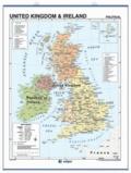 Edigol - United Kingdom & Ireland physical/political - Wall Map 100 x 140 cm.