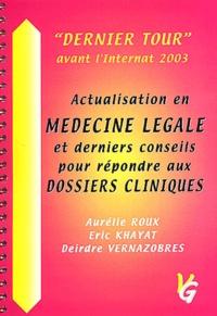 Aurélie Roux et Eric Khayat - Actualisation en médecine légale et derniers conseils pour répondre aux dossiers cliniques.