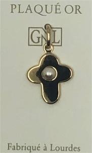 AVM DIFFUSION - Croix avec perle, plaque-or 3 microns