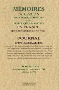Corridashivernales.be Mémoires secrets ou Journal d'un observateur - Tome 33, 6 septembre-31 décembre 1786 Image