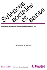 Barbot/rabeharisoa - Revue sciences sociales et sante - decembre 2018 - vol. 36 - n 4 - medecine et justice.
