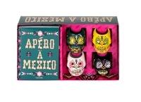 """Hachette Pratique - Coffret Apéro à Mexico - Contient : 4 mini-verres """"tête de mort"""", 1 livre."""