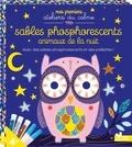 Mélanie Grandgirrad - Sables phosphorescents animaux de la nuit - Avec une spatule, des sables phosphorescents et des paillettes.