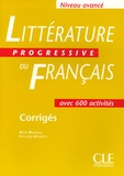 Nicole Blondeau et Ferroudja Allouache - Littérature progressive du français Niveau avancé - Corrigés.