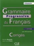 Michèle Boularès et Jean-Louis Frérot - Grammaire progressive du Francais - avancé - Corrigés.
