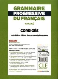 Grammaire progressive du français. Corrigés B1 B2 avancé 3e édition