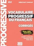 Amélie Lombardini et Roselyne Marty - Corrigés vocabulaire progressif niveau débutant complet.