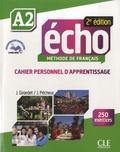 Jacques Pécheur et Jacky Girardet - Echo A2 - Cahier personnel d'apprentissage. 1 CD audio