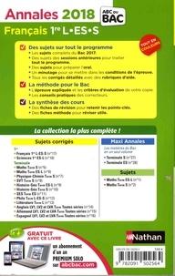 Français 1re L-ES-S. Sujets & corrigés  Edition 2018