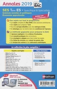 SES Tle ES. Sujets & corrigés  Edition 2019