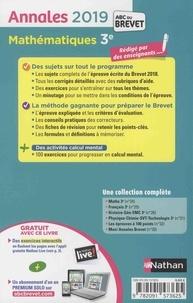 Mathématiques 3e. Sujets & corrigés  Edition 2019