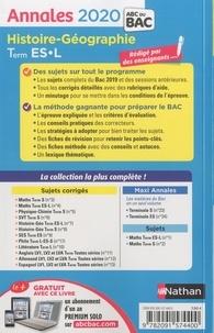 Histoire-géographie Tle ES-L. Sujets & corrigés  Edition 2020