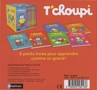 Ma petite école T'choupi. Contient 6 livres : T'choupi découvre les lettres ; T'choupi découvre les formes ; T'choupi découvre les couleurs ; T'choupi découvre les contraires ; T'choupi découvre les chiffres ; T'choupi découvre l'anglais