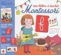 Claire Frossard et Céline Santini - Mes lettres à toucher Montessori - Coffret avec 1 livre, 26 cartes lettres rugueuses et 26 cartes images.