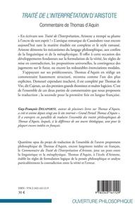 Traité de l'interprétation d'Aristote. Commentaire de Thomas d'Aquin (Complément de Thomas de Vio dit Cajétan)