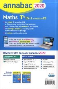 Maths Tle ES spécifique & spécialité, Tle L spécialité. Sujets et corrigés  Edition 2020