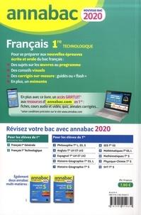 Français 1re technologique. Sujets et corrigés  Edition 2020