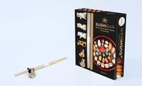 La box kawaï Sushis bar. Avec des baguettes japonaises, des porte-baguette kawaï, une natte en bambou pour makis