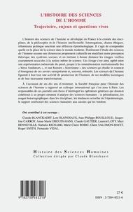 Histoire des sciences de l'homme. Trajectoire, enjeux et questions vives