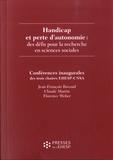 Jean-François Ravaud et Claude Martin - Handicap et perte d'autonomie : des défis pour la recherche en sciences sociales.