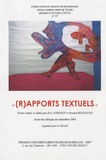 "Eric Athenot et Arnaud Regnauld - GRAAT N° 37 : ""(R)apports textuels""."