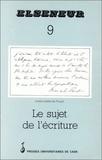 Pierre Barbéris - Elseneur N° 9 : LE SUJET DE L'ECRITURE PRECEDE.