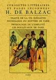 Honoré de Balzac - Curiosités littéraires et pages inconnues - Traité de la vie élégante ; Physiologie du rentier de Paris ; Physiologie de l'employé ; Les boulevards de Paris.