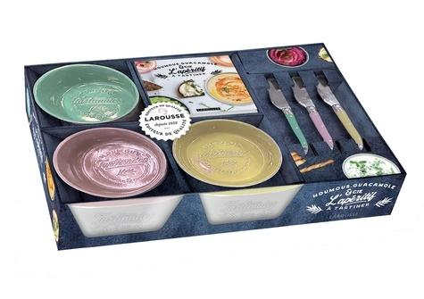 Coffret Houmous, guacamole & Cie. L'apéritif à tartiner. Avec 3 bols en céramique et 3 couteaux à tartiner