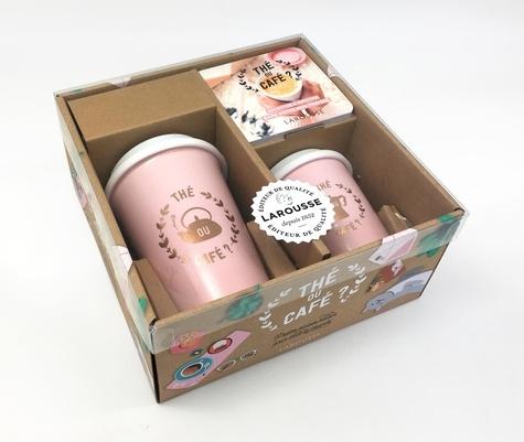 Coffret Thé ou café ?. Avec 2 mugs en céramique avec des couvercles en silicone
